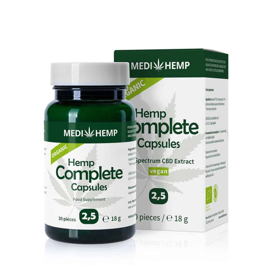 Medihemp Organic Hemp Complete 2.5% CBD capsules